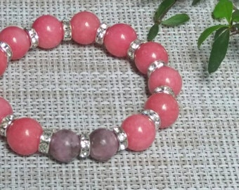 Mothers Day Gift Rhodonite and Lepidolite Bracelet  Positive Vibes Jewelry Mothers Day Gift