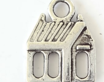 Antique Silver Tone 17x13mm House Charms 10PC 50PC