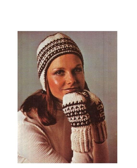 Crochet pattern vintage 70s crochet hat and mittens pattern crochet pattern vintage 70s crochet hat and mittens pattern set crochet helmet hat pattern pdf file digital pattern vtg diy dt1010fo