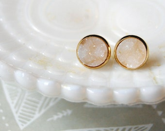 icy white acrylic druzy framed post earrings - gold plate