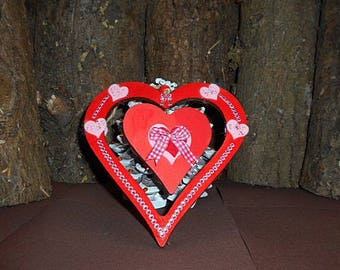Double red heart wooden hanging