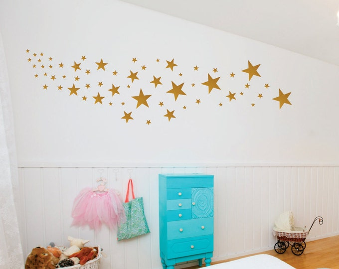 Gold Star Decals // Different Star Wall Decals // Nursery Wall Stickers // Design Pack 109 Stars // Peel and Stick // Gold, Silver, Copper