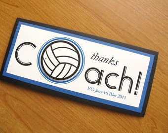 Volleyball Thank You Coach Card/Volleyball Coach/Custom Thank You Card