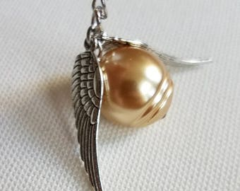 This Snitch is Golden   Golden Snitch inspired minimalist necklace