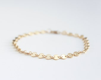 Simple Delicate Gold Bracelet 14k Gold Filled / Choker Chain Bracelet Custom Made / Everyday Bracelet, Thin Gold Chain / Layering Bracelet