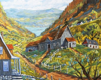Charlevoix Valley Large original oil painting created by Prankearts