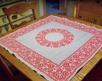 Vintage Table Topper Woven German Table Topper Red Gray Border Medallion Reversible Table Centerpiece