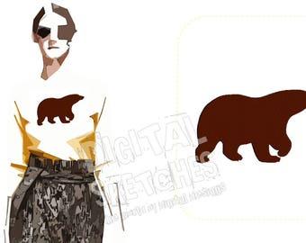 Bear Machine Embroidery Design 3 Sizes