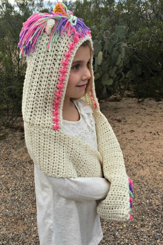 Unicorn Hood Pattern Crochet Pattern Unicorn Hooded Scarf