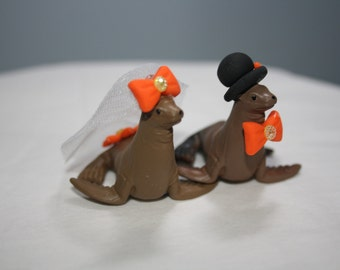 Small Seal Cake Topper; Animal Cake Topper; Wedding Decoration; Cute Wedding Decor; Bride and Groom; Mr and Mrs; Animal Bride and Groom.