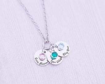 Mother's Necklace - Engraved Necklace with Birthstones - Engraved Jewelry - Birthstone Necklace - New Mom - Grandma - Kid's Names