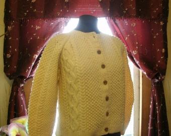 1960's Hand Knit Irish Fisherman's Sweater Cream White Popcorn Cable Button Down Women's Sweater