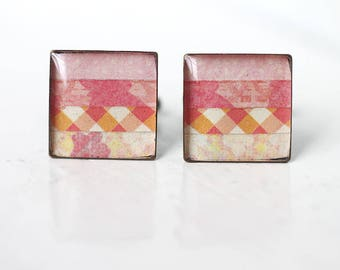 Pink and Orange Cuff Links - Sweet Pastel Square Unisex Cufflinks for Spring Wedding