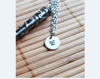 Personlised Harry Potter Wand Necklace and initial charm - 4 to choose from - Hermione Harry Dumbledore Voldemort