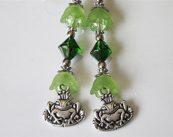 Frog Earrings, Fantasy Jewelry, Frog Prince, Fantasy Earrings, Green Lucite and Glass, Fairy Tale Earrings