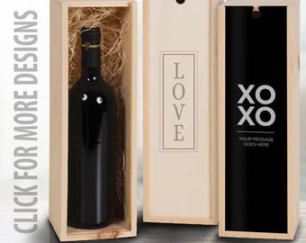 Wedding Gift, Personalized Wine Box, Custom Engraved Wood Wine Box