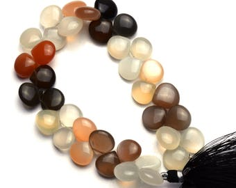 Natural Gemstone Multicolor Moonstone Smooth Heart Shape Briolettes 8.5 Inch Full Strand 12MM Approx. Super Quality Hand Polished Beads