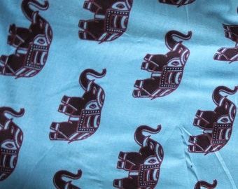Festival special  Elephant print fabric Cotton cloth block printed supply material elephant art  pattern 1013 free shipping