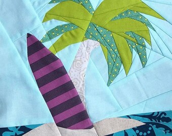 Surfboard and Beach Foundation Paper Piecing Pattern