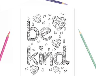Printable Coloring Page Be Kind Kids Girls Room Decor
