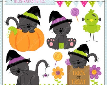 Halloween Cats - Cute Digital Clipart for Commercial and Personal Use, Halloween Clipart, Halloween Graphics