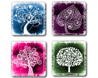 Set of 4, Colorful & Curly Tree Magnets, Glass Tile Magnets, Glass Magnets, Refrigerator Magnets, Fridge Magnets