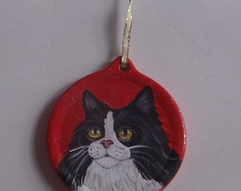 Tuxedo Cat Maine Coon Custom Hand Painted Christmas Ornament Decoration