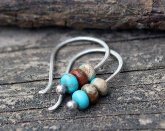 Turquoise jasper earrings / sterling silver earrings / gift for her / silver dangle earrings / tiny earrings / jewelry sale / bohemian