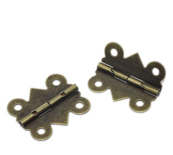 Set of 4 hinges - bronze - size: 24 mm