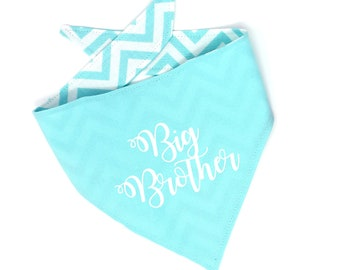 Big Brother Dog Bandana/Big Brother/Dog Accessories/Blue Dog Bandana/Baby Announcement/Dog Baby Announcement/Chevron Dog Bandana