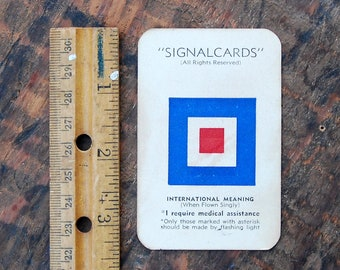 "Vintage Signal Card, WWII Era, Navy International Code Flag "" William or W """