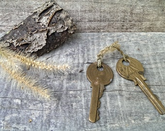 Set of 2 Vintage Brass European Key, Old Keys from 1970 s, Rustic Home Decor, Gift Idea