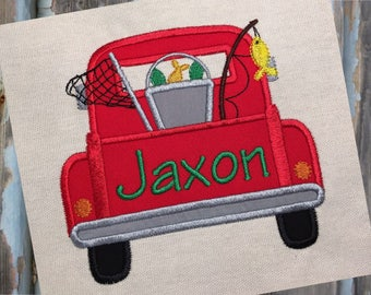 Fishing Truck Back Applique Embroidery Design 5x7 6x10 8x8 8x12