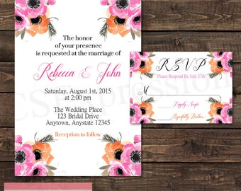 Pink and Orange Watercolor Floral Flowers Wedding  Invitation and RSVP Card