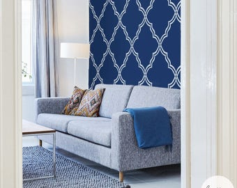 Blue Moroccan Wallpaper / Traditional or Removable Wallpaper