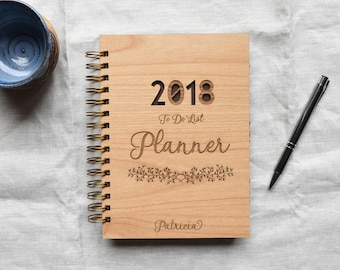 2019 Personalized Weekly To Do List Planner. Spiral Bound Wooden Notebook.