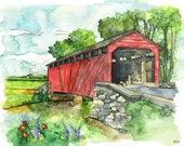 Covered Bridge Watercolor...