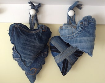 Denim Hanging Hearts, Shabby Chic, Upcycled Denim, Door Hangers. Union Jack, Back & Side Pocket Options, Gift for Her, Stocking Filler