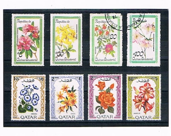 Decorative Flower Postage Stamps with Ornate Borders | beautiful flower illustrations, used vintage stamps for card toppers, craft supply