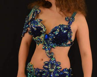 Belly dance ccstume belly dance outfit Peacock