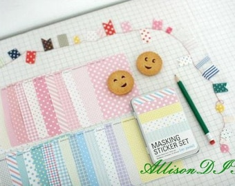 27 Sheets Masking Stickers in an Iron Box -- Korean Stickers -- Diary Stickers -- Pastel Ver