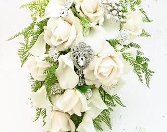 Cascade Bridal Bouquet White Callas Real Touch White Roses, Rhinestone and Pearl Brooches - Customize for your Colors