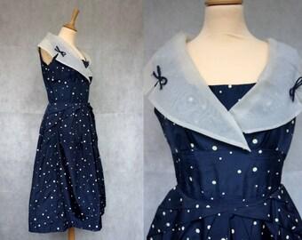 1950s Midnight Blue Polkadot Sailor Dress