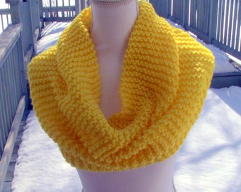 Gift for Her, Spring Cowl, Knitted Yellow Cowl, Summer Cowl, Yellow Scarf, Scarf, Yellow Cowl, Cowl