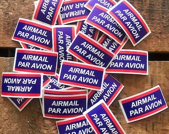 Air Mail Labels - Set of 20 - Airmail Stickers, Par Avion, Junk Journal Paper Ephemera, Planner Supplies, Craft Supplies, Travel Stickers