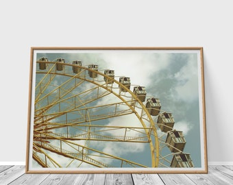 Ferris Wheel Print, Vintage, Instant Download, Retro, Wall Art, Digital File, Jpg, Photography, Printable Art, Modern Design