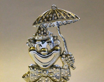 Vintage 1960's Gold Tone Clown Jewelry Holder! Cute!