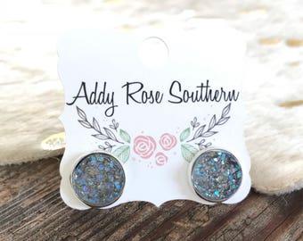 12mm clear gray druzy, druzy studs, druzy earrings,  rose gold druzy, rose gold earrings