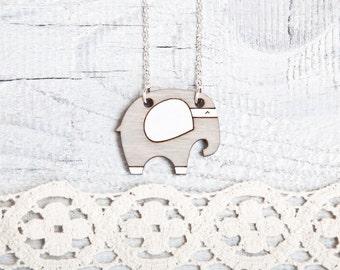 Elephant  Necklace, Gray Pendant, Elephant Wood Necklace, Gray Necklace, Cute Gray Elephant, Kids Necklace, Animal Necklace, Gift Sister