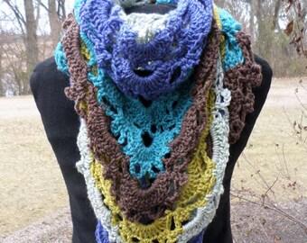 Hand Crochet Shawl; Hand Crochet Triangle Scarf; Multicolored Triangle Scarf; Shawl Scarf; Colorful Scarf; Colorful Wrap; Virus Shawl